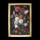 stickpackung jan davidsz, stilleben, bloemen in glazen vaas op zwart