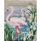 stramien + garenpakket, flamingo's (100% wol)
