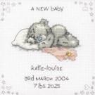 borduurpakket me to you, geboorte, a new baby (incl. blauw/rose garen)