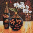 borduurpakket stilleven, vaas/bloemen met fles