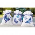 borduurpakket kruidenzakje (3 st.) blauwe vlinders