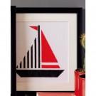 borduurpakket abstract, zeilboot