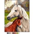 stramien paard met veulen