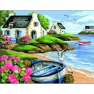 stramien landschap met roeiboot