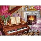 stramien pianoscene met rozen